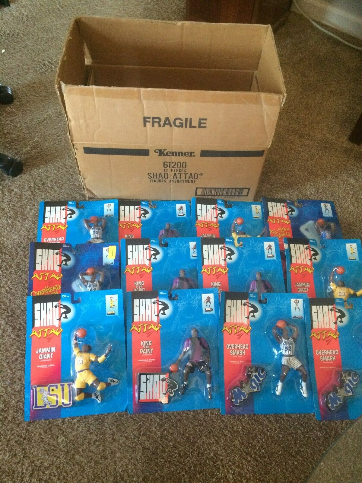 1 (12) Case Case Case of 1993 Shaq Attaq NBA  Shaquille O'neal Action Figure From Kenner, 5214fe