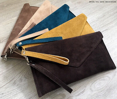Blue Wedding Clutch Bag Evening Bag Oversize Envelope Suede Prom Made in Italy