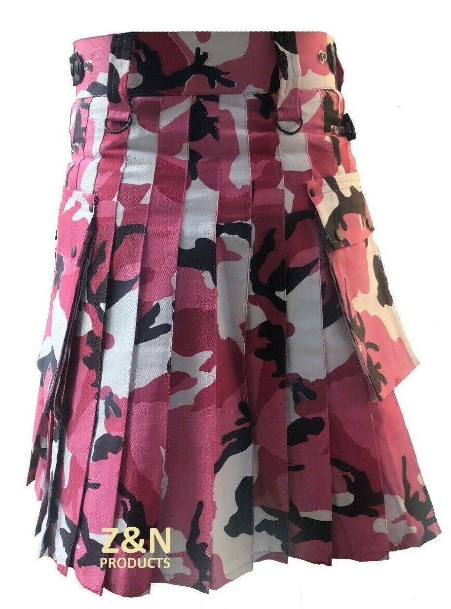 Camouflage Leather Straps Men Utility Kilt, Fashion Sports, 100% Cotton