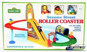 SESAME-STREET-1990s-ROLLER-COASTER-Toy-Big-Bird-Ernie-Cookie-Monster-Kids-Illco