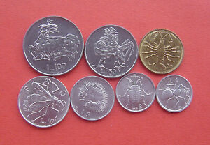 1974 San Marino Italy complete official set coins with silver UNC animals