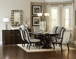 Image is loading LAVISH-ESPRESSO-DOUBLE-PEDESTAL-DINING-TABLE-CHAIRS-DINING- : espresso dining table set - pezcame.com