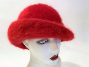 Kangol Furgora England Lord & Taylor Vtg RED Bucket Tilt Hat 1970's Ursula Label