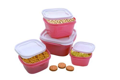 multipurpose storage container Pink Square Plastic boxes set of 4