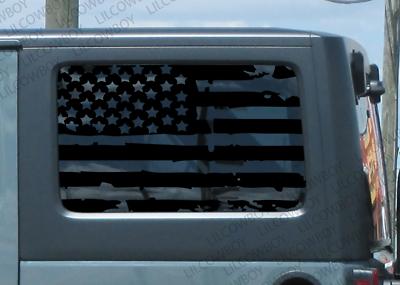 Distressed USA flag Hood vinyl sticker decal  Fits any hood Jeep wrangler DF21
