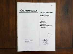 Details about Troy Bilt Tiller / Edger Owners Manual With Parts List Model  12216