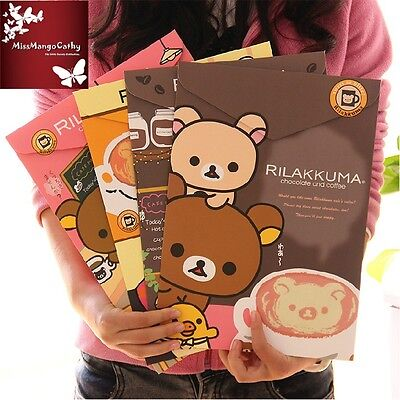 """Rilakkuma"" Top Open Pack of 4 Cute Paper Document File Folder 1 Layer A4 Size"
