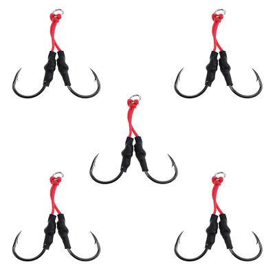 5Pcs Saltwater Jigging Dual Assist Hook 5//0# Offshore Deep Sea Fishing Hooks