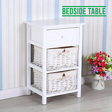 White Retro Shabby Chic Nightstand End Side Bedside Table w/Wicker Storage Wood