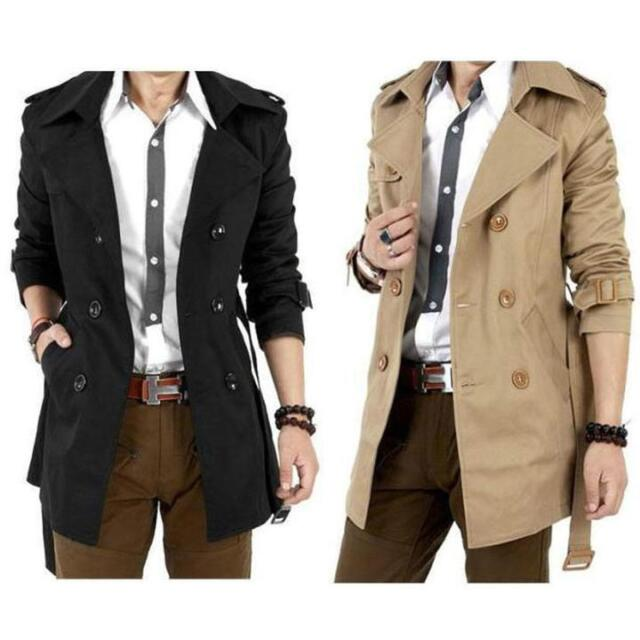 Newest Men Winter Double Breasted Trench Coat Long Jacket Overcoat Outwear Chic