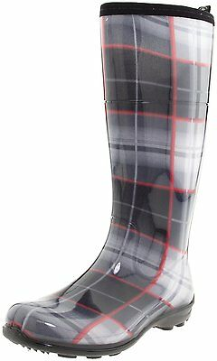 Women's Kamik Waterproof Rain Boots Caroline Charcoal Plaid