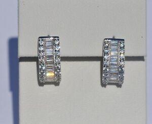 Echt-925-Sterling-Silber-Ohrringe-Creolen-mit-Zirkonia-crystal-Hochzeit-Nr-63