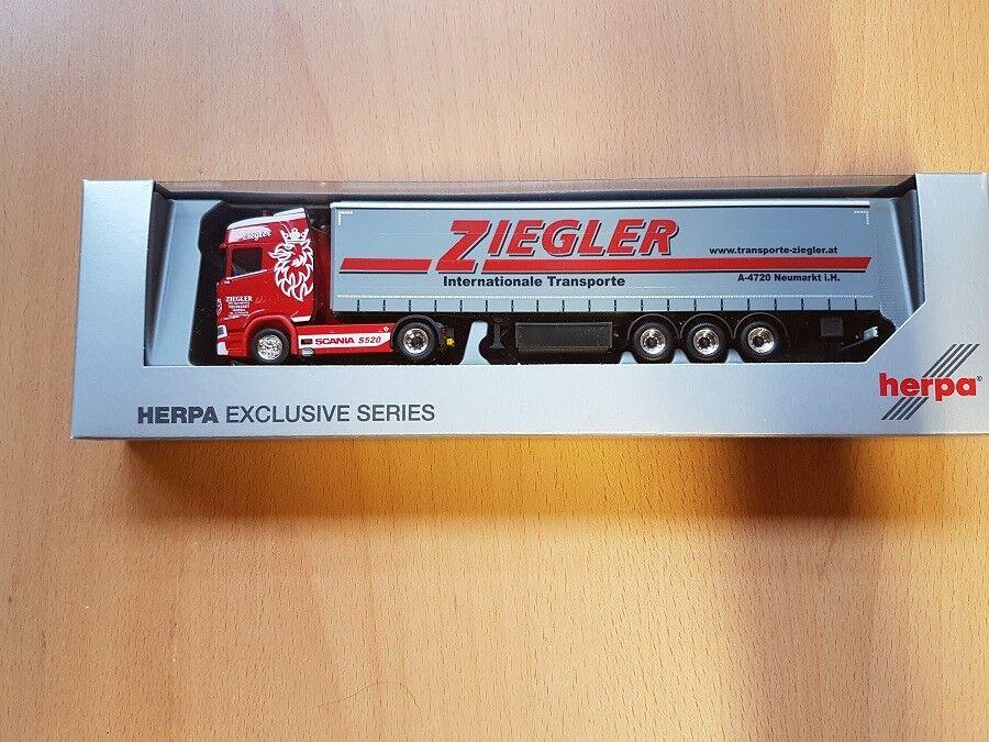 Herpa 935937 - 1 87 Scania CS 20 HD Gardinenplanen Sattelzug   Ziegler  - Neu