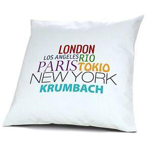 """Kopfkissen Krumbach Kissen mit Füllung Motiv /""""Famous Cities of the World/"""""""