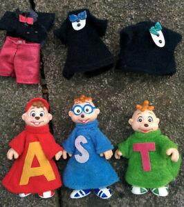 Vintage-ALVIN-Chipmunks-SIMON-THEODORE-Poseable-3-034-Toy-Figure-Original-Clothes