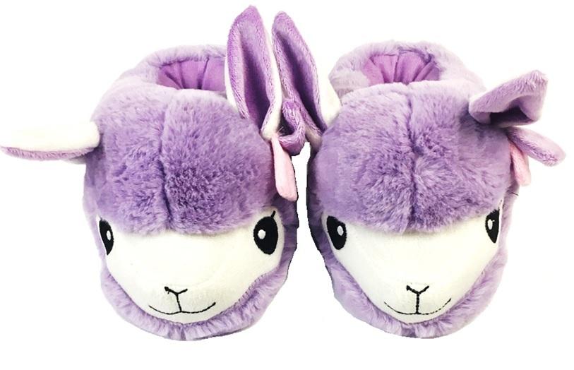 Llama 3D Slippers Plush Childrens Non Slip On Slides Kids Comfy Purple Soft 0493