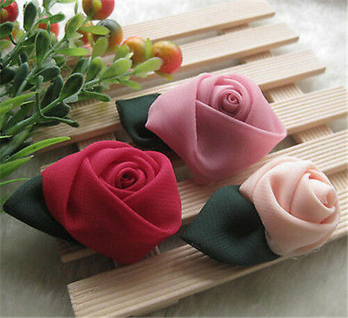 9pcs Big Organza Ribbon Rose Flower Wedding Sew Appliques Craft A1053 U pick