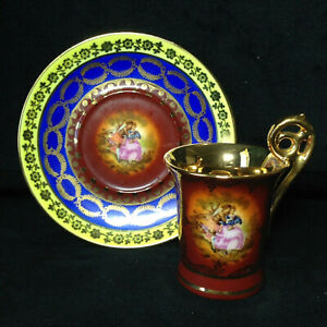 """Fragonard """"Love Story Courting Couple"""" Germany Demitasse Cup & Saucer #207"""