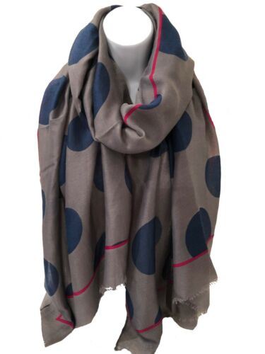 Ladies GREY with BLUE Circles Silky Feel Cotton Blend Frayed Scarf