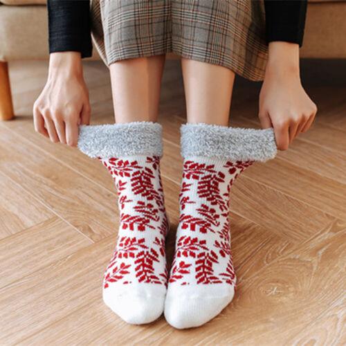 Winter Warm Soft Women Thick Plush Snowflake Print Warmer Non-slip Floor Socks