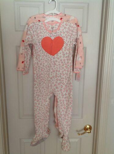 Carter/'s Girls Set Of 2 Fleece Zip Up Footed Pajamas 4T /& 5T NEW