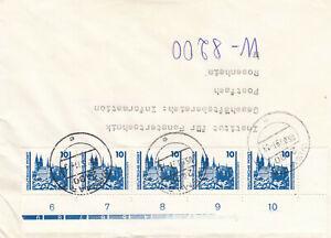 DDR-1990-MiNr-3344-5er-Reihe-Unterrand-Stempel-Wismar-auf-Brief-selten