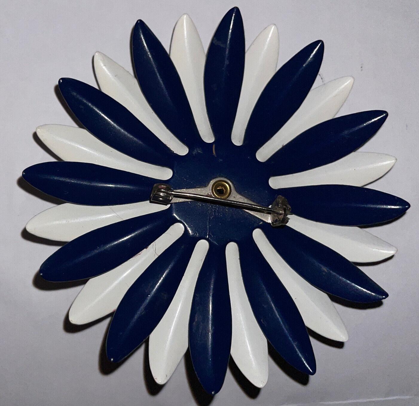 Vintage Art Deco Nouveau Dark Blue White Enamel W… - image 9