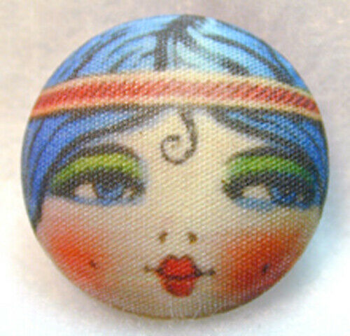 """Details about  /1920s Flapper Girl  Button Hand Printed Fabric /""""Spit Curl/"""""""