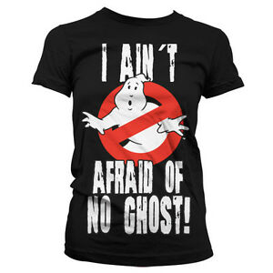 Official-Ladies-Ghostbusters-Afraid-of-No-Ghost-Logo-Black-T-Shirt-Womes-Tee
