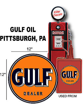 "12/"" 1936-54 GULF PUMP GASOLINE DECAL OIL CAN GAS PUMP LUBSTER"
