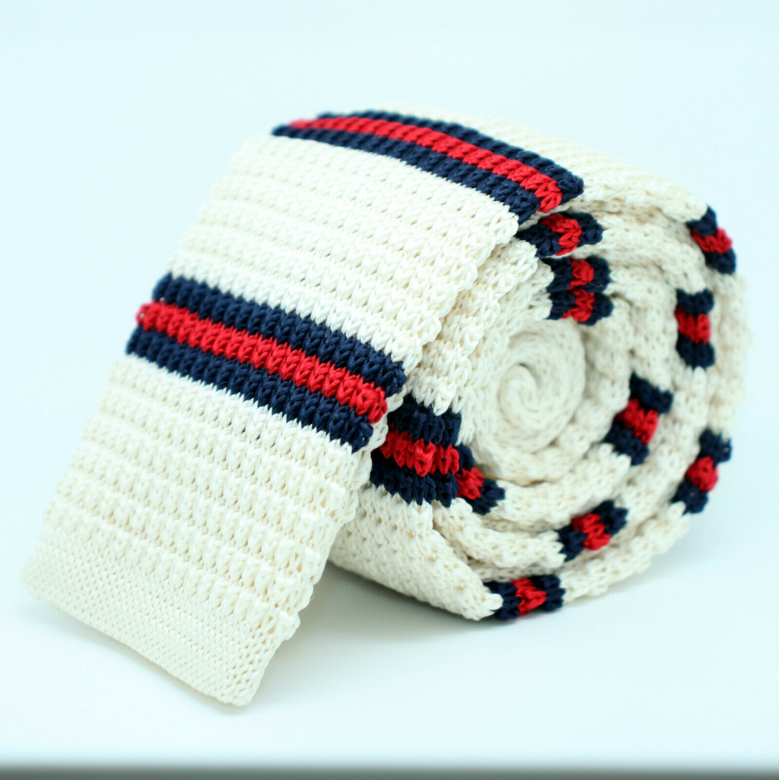 Beige Skinny Tie Blue Red Fabric Weave Knitted Handmade Straight End 5.5cm