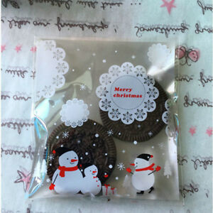 100PCS-Self-Adhesive-Christmas-Snowman-Party-Treat-Cookie-Candy-Gift-Bags-Hot