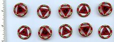 LEGO x 10 Trans-Red Ring with Center Triangle with Gold Bands and Shark Pattern