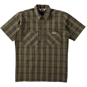 Ben Davis Short Sleeve Half Zip Work Shirt Plaid Olive