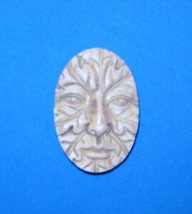 Greenman Green Man Polymer Clay 30x40 Cameo Push Mold DIY Jewelry Pagan Wicca #1