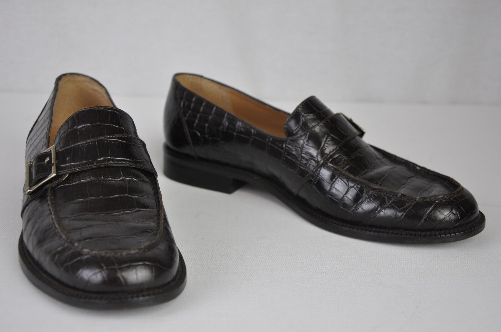7.5B Ralph Lauren Black Leather Croc Print Moc Toe Slip On Career Loafer Flat