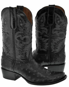 014d74cf69e Details about Mens Black Square Toe Ostrich Skin Print Western Wear Leather  Cowboy Rodeo Boots