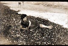 DIEPPE (76) BAIGNEUSE à la PLAGE / Carte photo postale début 1900