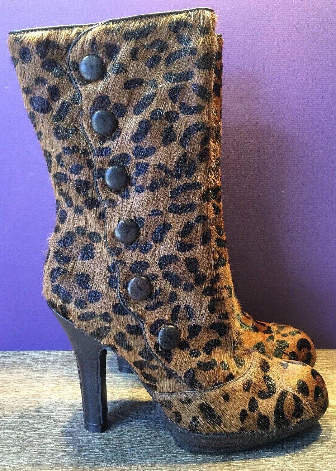 Nuevo Sam Edelman Marrón para Mujer Estampado De Leopardo Pelo Pantorrilla botas Taco Alto M