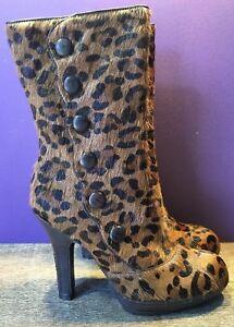 45f6de5de12320 NEW Sam Edelman Brown Women s Leopard Print Calf Hair High Heel ...