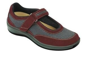 Orthofeet-859-Chattanooga-Women-039-s-Casual-Shoe-Mary-Jane-Red-Gray-8-5-Wide