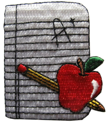 """#3873 2-1//8/"""" Notebook /& Pencil /& Apple w//A Word Embroidery Applique Patch"""