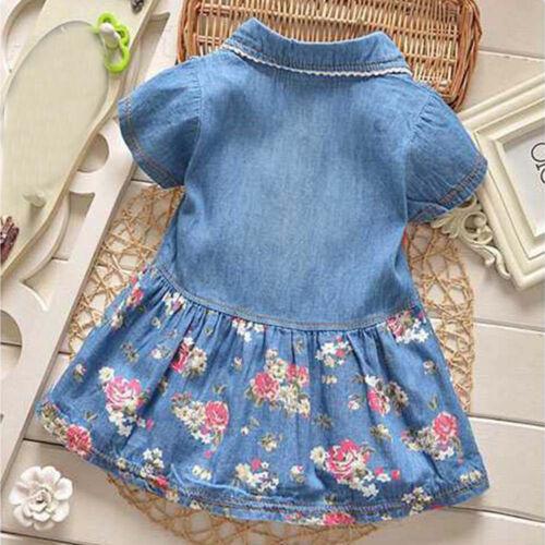 Kid Baby Girl Short Sleeve Princess Dress Summer Denim Party Sundress Clothes Z1