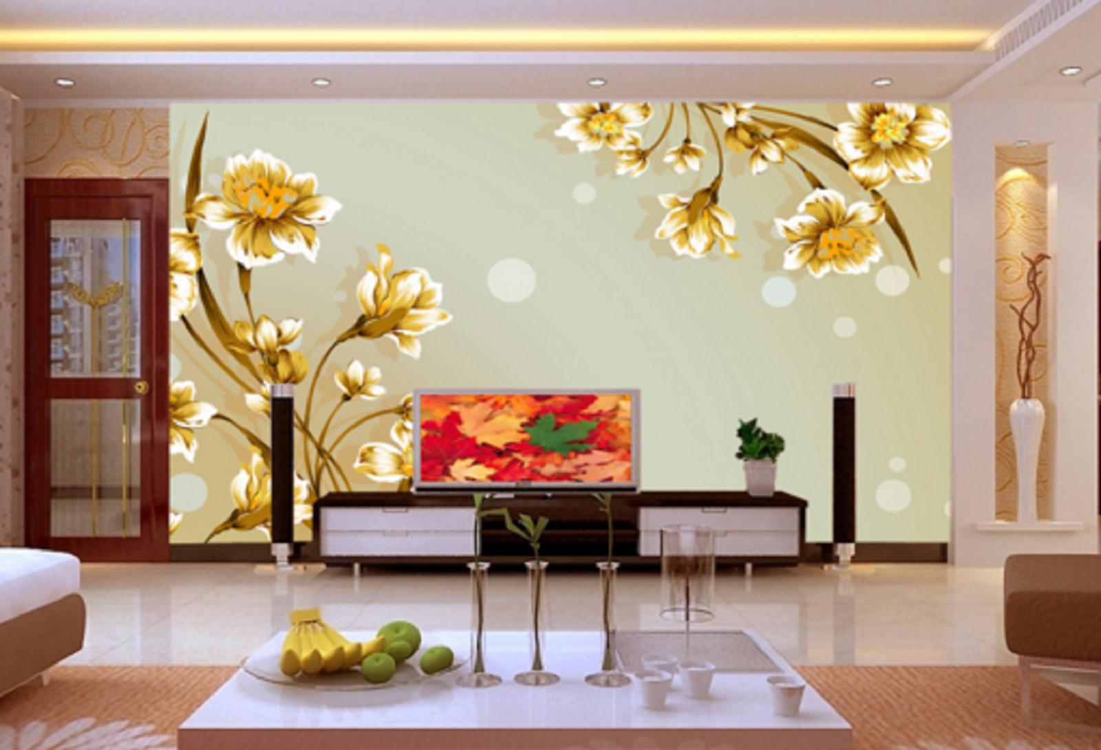 3D Goldenes Blaumen Muster 4 Tapete Tapeten Mauer Foto Familie Tapete Wandgemälde