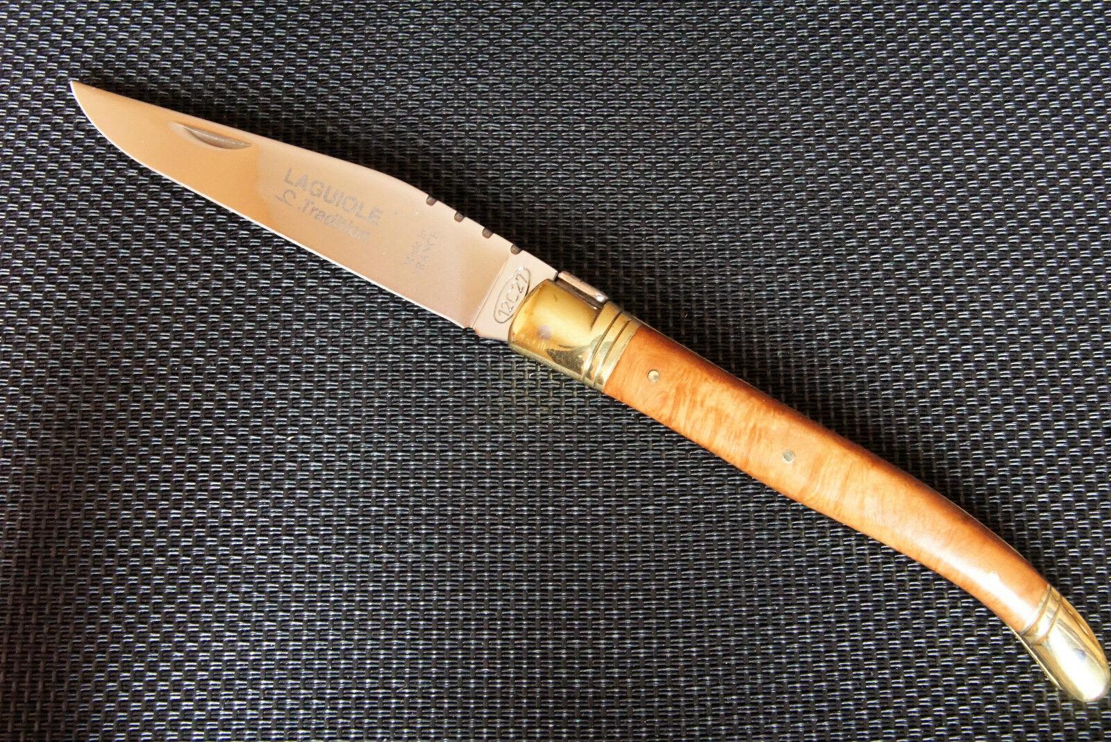 Laguiole-Coltello, acciaio 12c27, bruyere-legno gusci, ganasce in ottone