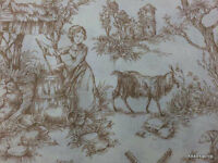 Village Toile Goat Rooster Brown Cream 100% Cotton Fabric Bty Half Yard W10/15