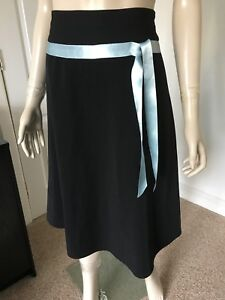 NEW-LOOK-SIZE-8-10-BLACK-SKIRT-BLUE-SATIN-RIBBON-TRIM-IN-PERFECT-CONDITION