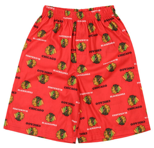 OuterStuff NHL Boys Youth Chicago Blackhawks All-Over Printed Pajama Shorts Red