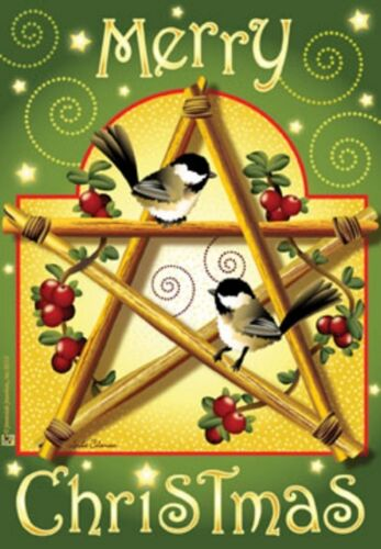 HOUSE FLAG--28 X 40--CHRISTMAS CHICKADEES--by Jeremiah Junction