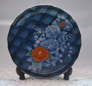 CLEARANCE-Pretty-Shabby-Vintage-Blue-Plaid-Red-Floral-Cabinet-Display-Plate